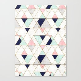 Mod Triangles - Navy Blush Mint Canvas Print