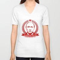 putin V-neck T-shirts featuring Vladimir Putin by MartiniWithATwist