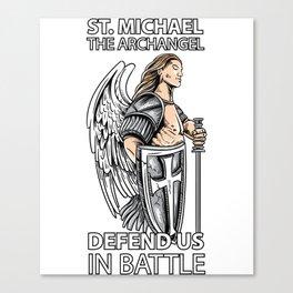 St Michael the Archangel Saints Angel Catholic tee Canvas Print