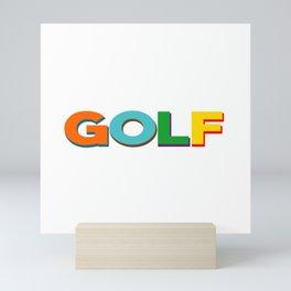 Golf player court coach caddy Mini Art Print