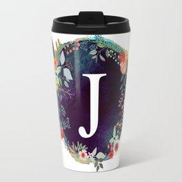 Personalized Monogram Initial Letter J Floral Wreath Artwork Travel Mug