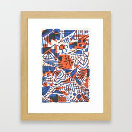 Abstract - Copenhagen and Vermillion Framed Art Print