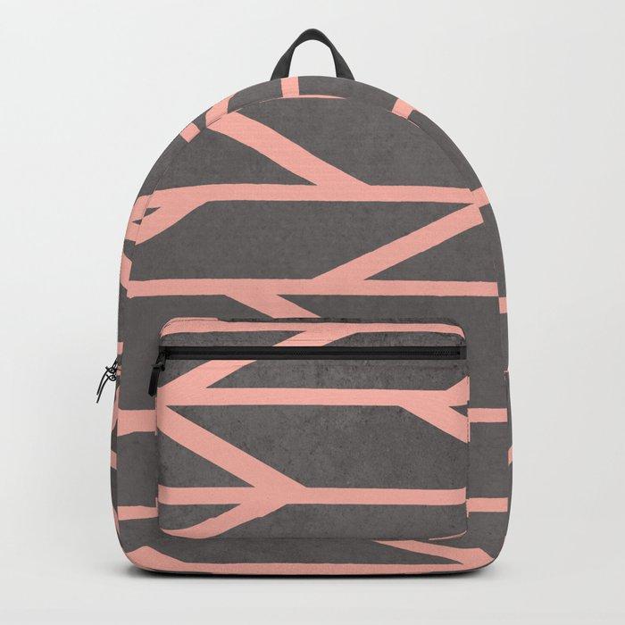 Modern blush pink stripes chevron geometric grey concrete cement background Backpack