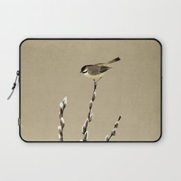 Chickadee And Pussy Willow Laptop Sleeve