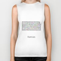 kansas Biker Tanks featuring Kansas map by David Zydd