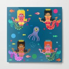 Mermaid Sisters Metal Print