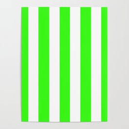 Neon green - solid color - white vertical lines pattern Poster