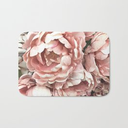 Autumn Fall Coral Peach Floral Peonies Roses Shabby Chic Flowers Bath Mat