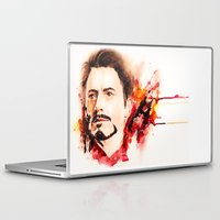 tony stark Laptop & iPad Skins featuring Mr. Stark by Sterekism