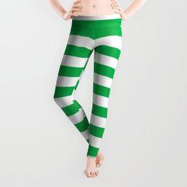 Horizontal Green Stripes Leggings