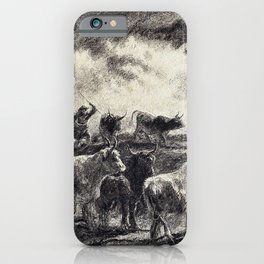 Rosa Bonheur - A Cowherd Driving Cattle - Digital Remastered Edition iPhone Case
