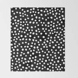 Black and white doodle dots Throw Blanket