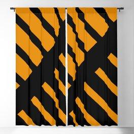 Orange Black Contemporary Diagonal Stripes Blackout Curtain