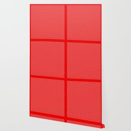 Tiny Paw Prints Pattern - Bright Red & White Wallpaper