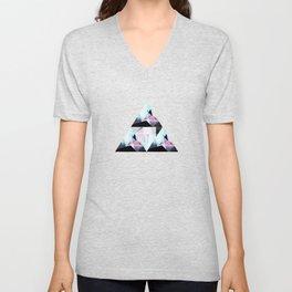 triangular pattern Unisex V-Neck