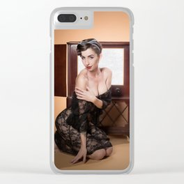 """RCA Vixen"" - The Playful Pinup - Retro TV Pin-up Girl by Maxwell H. Johnson Clear iPhone Case"