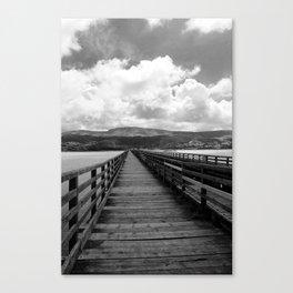 Bridge Over The Sea | Black and White Photography Canvas Print