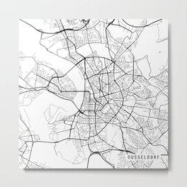 Dusseldorf Map, Germany - Black and White  Metal Print