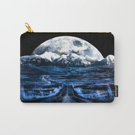 Road to Eternity (blue vintage moon mountain) Carry-All Pouch