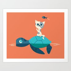 Cat on a Turtle Art Print
