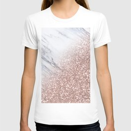 Blush Pink Sparkles on White and Gray Marble V T-shirt