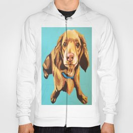 Miniature Long Haired Dachshund Painting on Blue Turquoise  Hoody