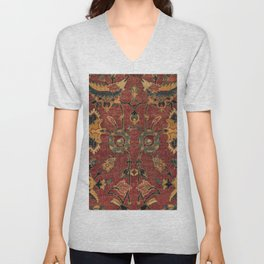 Flowery Boho Rug III // 17th Century Distressed Colorful Red Navy Blue Burlap Tan Ornate Accent Patt Unisex V-Neck