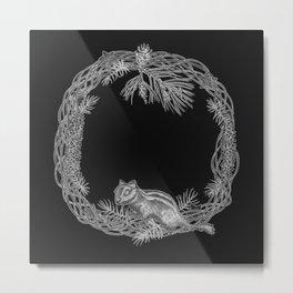 Squirrel and pinecorn wreath 01 Metal Print