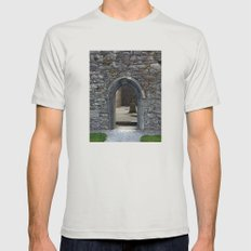 View of Grave Through Door of Irish Ruins v.3 Silver Mens Fitted Tee SMALL