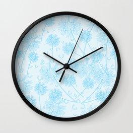 Dandelion Plants, Flower Heads - Pale Blue Wall Clock