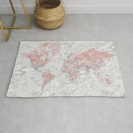 Dusty pink, grey and marble world map with cities Rug