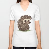 hedgehog V-neck T-shirts featuring Hedgehog by Toru Sanogawa
