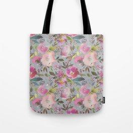 Pretty Pink Blossom Textured Dark Gray Background Tote Bag