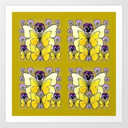 INK DRAWING PURPLE PANSY FLOWERS & YELLOW BUTTERFLIES Art Print
