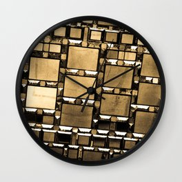 Sepia Abstract Geometric Shapes Decorative Mirror Print Wall Clock