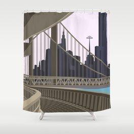 Modern City Blush Sky Shower Curtain