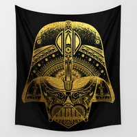 gold foil Wall Tapestries featuring Mandala Darth Vader - Gold Foil by Spectronium - Art by Pat McWain