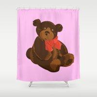 teddy bear Shower Curtains featuring teddy bear by ArtSchool