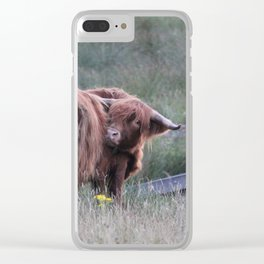 Highland Cow Scratching Itself Clear iPhone Case