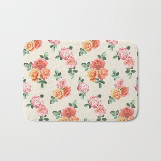 Retro Peach and Pink Roses Bath Mat