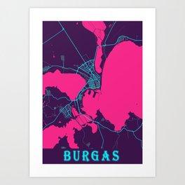 Burgas Neon City Map, Burgas Minimalist City Map Art Print Art Print