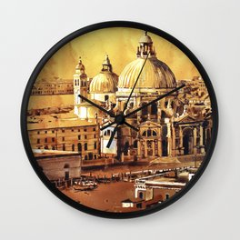 Basilica di Santa Maria in Venice, Italy.  Watercolor painting of Venice Wall Clock