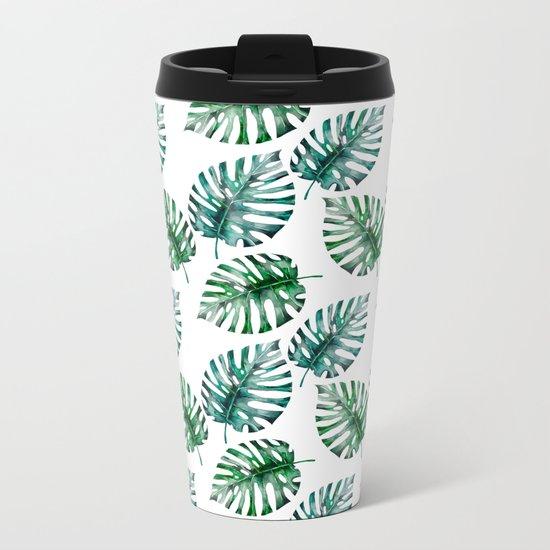 Tropical Foliage Monstera Pattern on #Society6 Metal Travel Mug