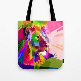 Colorful Lion Head (Illustration) Tote Bag