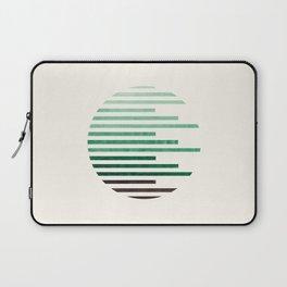 Mid Century Modern Minimalist Circle Round Photo Aquamarine Teal Green Staggered Stripe Pattern Laptop Sleeve
