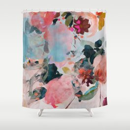 floral bloom abstract painting Shower Curtain