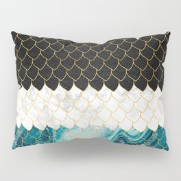 Black, white and blue marble scales pattern Pillow Sham