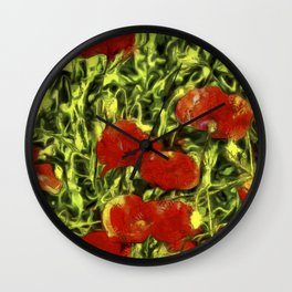 Poppys Van Goth Oil Pastel Art Wall Clock