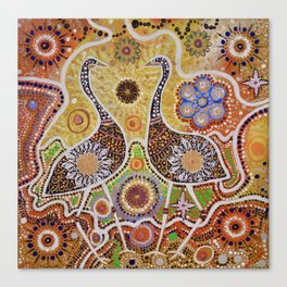 """Dinewan the Emu and Goomble-Gubbon the Plain Turkey"" Canvas Print"