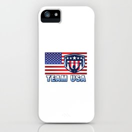Team USA Powerlifting American Flag Weightlifting Strength Sport Gift Design iPhone Case